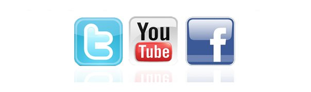Twitter, YouTube, Facebook